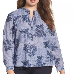 Lucky Brand Floral Chambray Shirt Plus size 3X